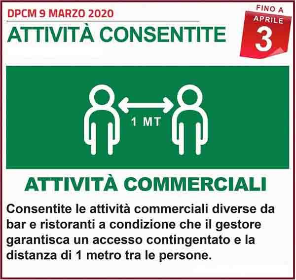 Disposizioni DPCM 9 Marzo 2020 - Attivita Commerciali Consentite