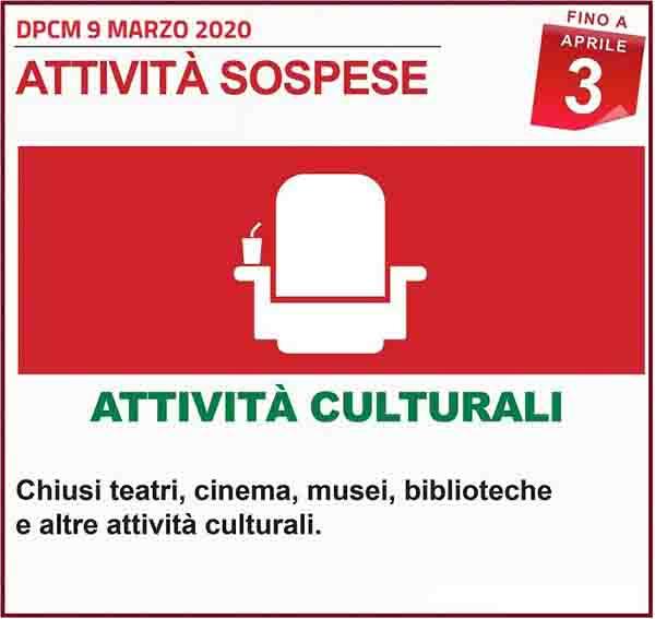 Disposizioni DPCM 9 Marzo 2020 - Attivita Culturali Spospese