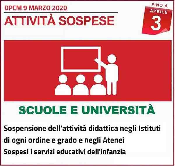 Disposizioni DPCM 9 Marzo 2020 - Attivita Scuole ed Universita Spospese