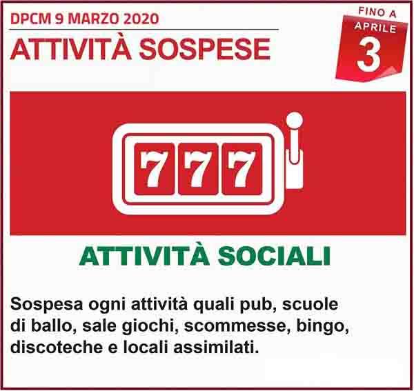 Disposizioni DPCM 9 Marzo 2020 - Attivita Sociali Spospese