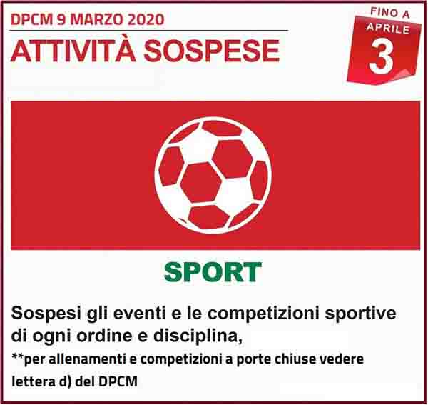 Disposizioni DPCM 9 Marzo 2020 - Attivita Sportive Spospese