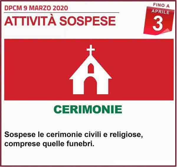 Disposizioni DPCM 9 Marzo 2020 - Cerimonie Spospese