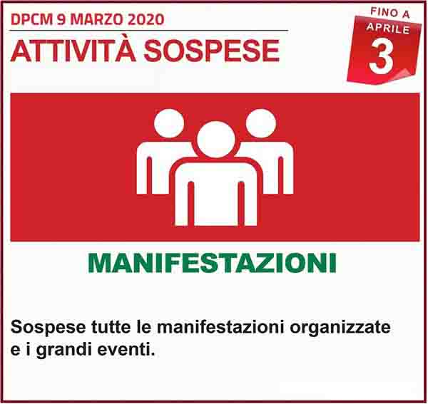 Disposizioni DPCM 9 Marzo 2020 - Manifestazioni Spospese