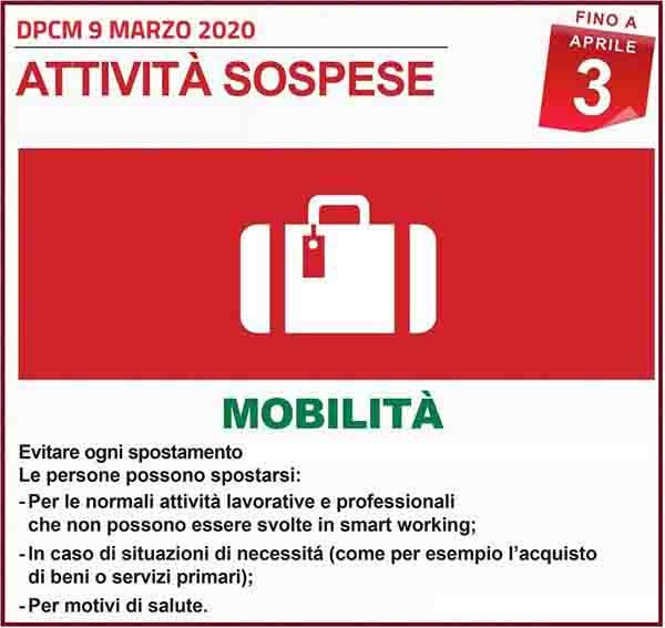 Disposizioni DPCM 9 Marzo 2020 - Mobilita Spospese