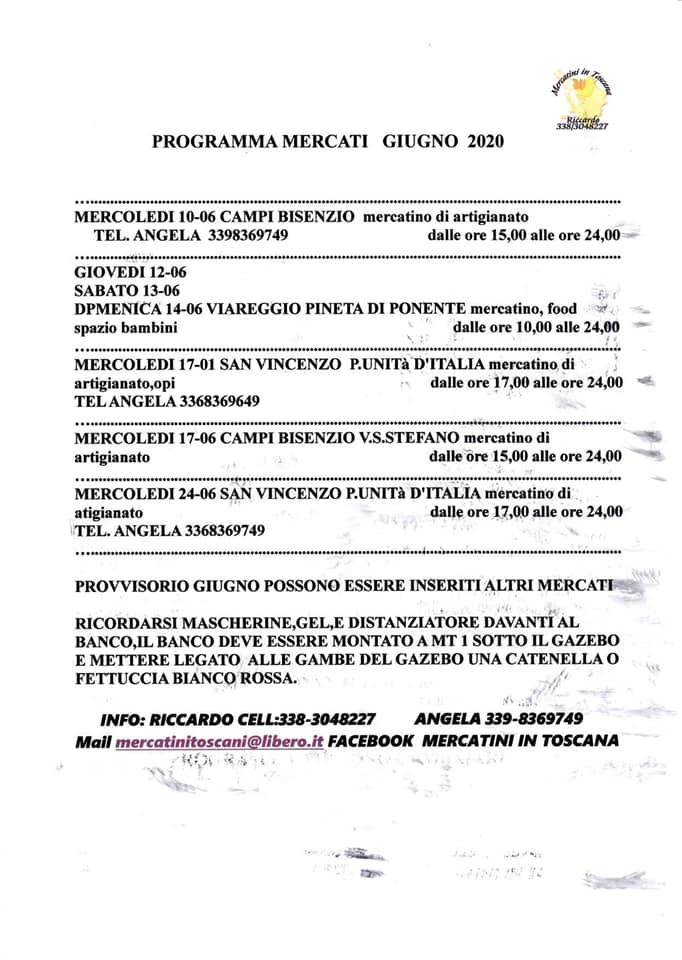 Mercati Toscani giugno 2020