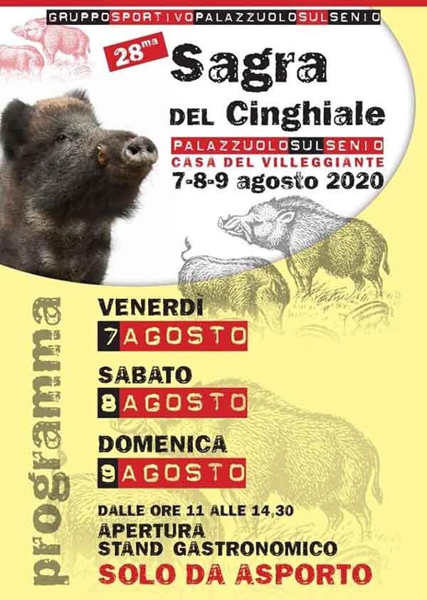 Manifesto Sagra del Cinghiale a Palazzuolo sul Senio 2020