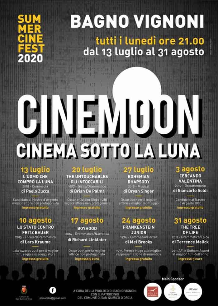 Programma Cinema Sotto la Luna a Bagno Vignoni 2020 - Cinemoon