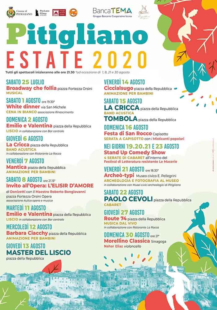 Programma Estate 2020 a Pitigliano Musica e Spettacoli