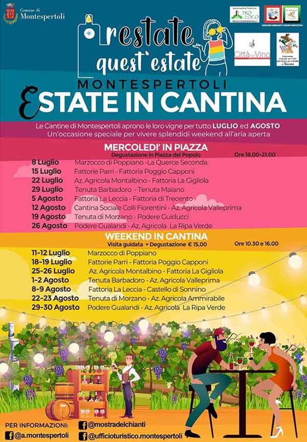 Programma Estate in Cantina 2020 a Montespertoli