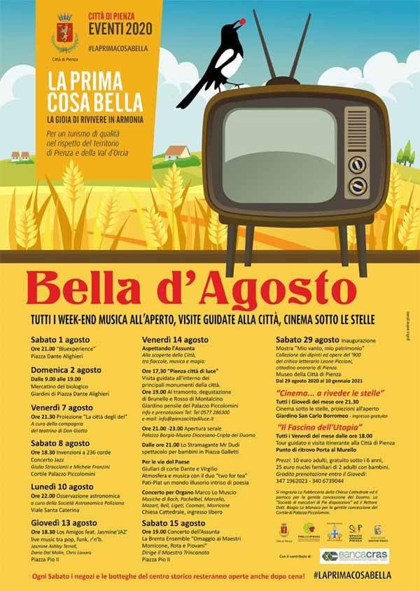 Manifesto Eventi Agosto a Pienza 2020 - Bella Agosto