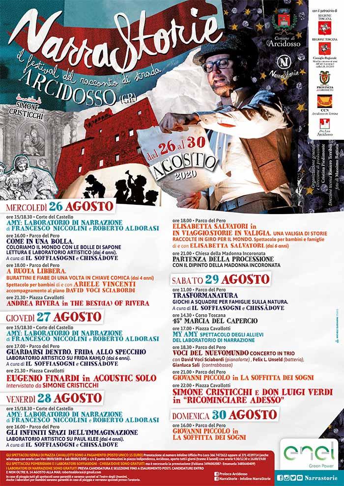 Programma Narrastorie 2020 con Simone Cristicchi ad Arcidosso Monte Amiata