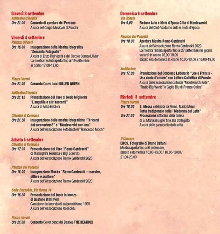Programma Perdono Montevarchi 2020