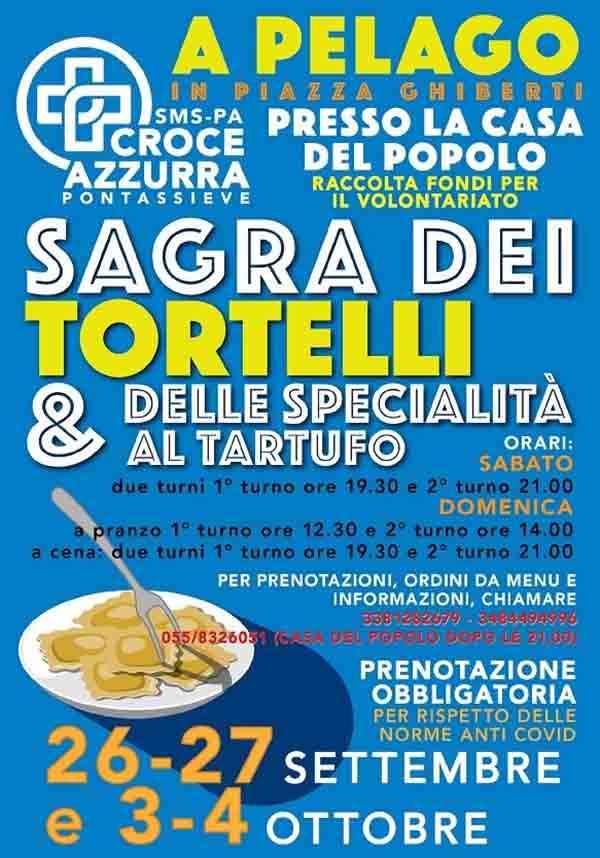 Manifesto Sagra dei Tortelli e delle specialità al tartufo 2020 a Pelago