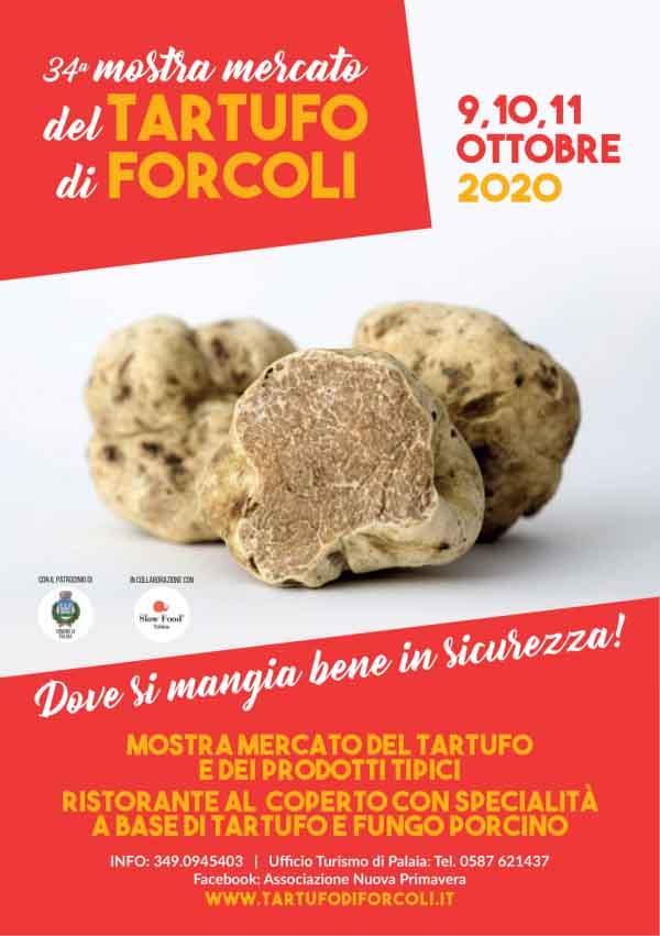 Manifesto 34° Mostra Mercato del Tartufo di Forcoli 2020 a Palaia