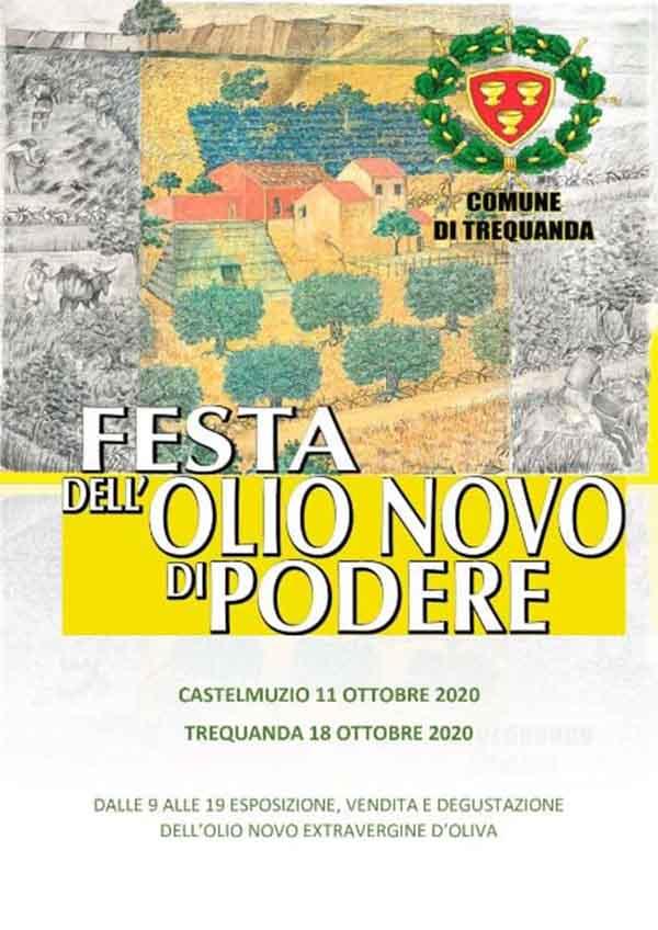 Manifesto Festa dell'Olio Novo di Podere 2020 a Trequanda Siena