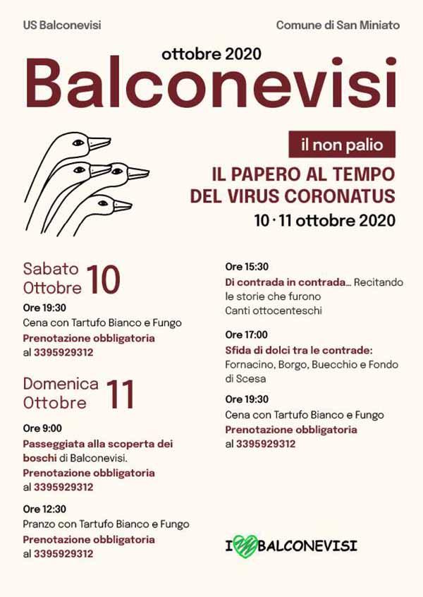 Manifesto Palio del Papero 2020 a Balconevisi a San Miniato