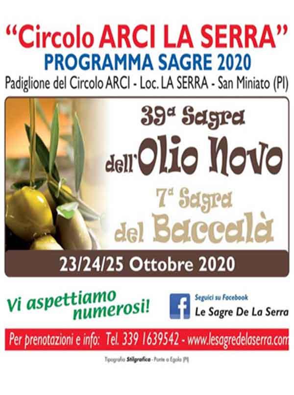 Manifesto Sagra dell'Olio Novo e Sagra del Baccalà 2020 a La Serra di San Miniato
