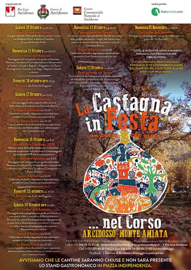 Programma La Castagna in Festa 2020 ad Arcidosso Monte Amiata