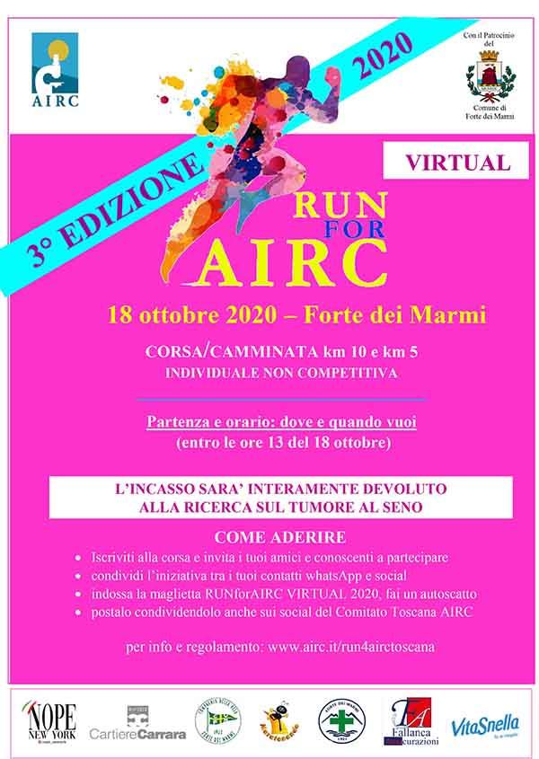Volantino RUN for AIRC Forte dei Marmi 2020