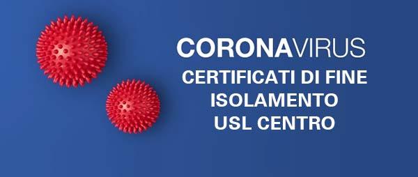 Certificati di Fine Isolamento COVID Usl Toscana Centro