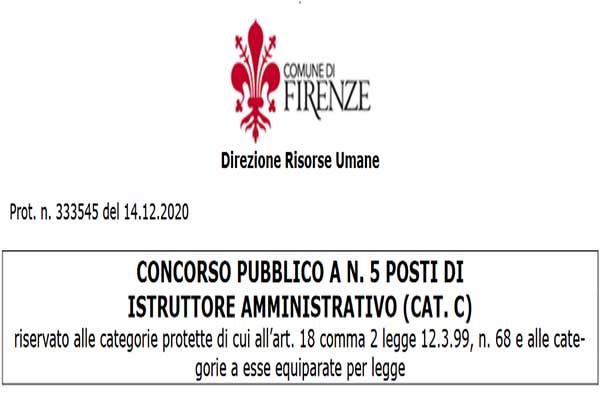 Concorso Comune di Firenze Gennaio 2021 per Categorie Protette
