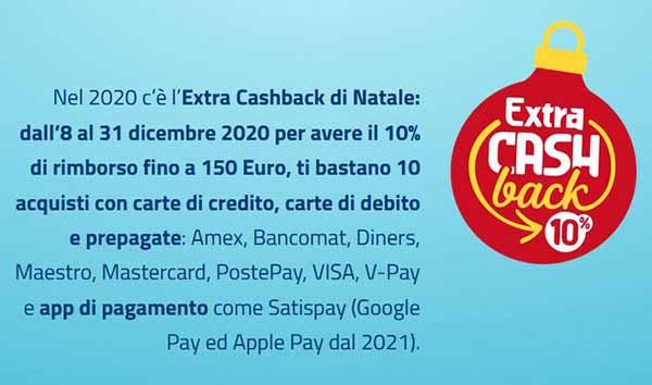 Extra Cash Back di Natale Rimborso fino a Euro 150