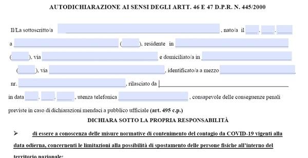 Modulo Autocertificazione Marzo 2021