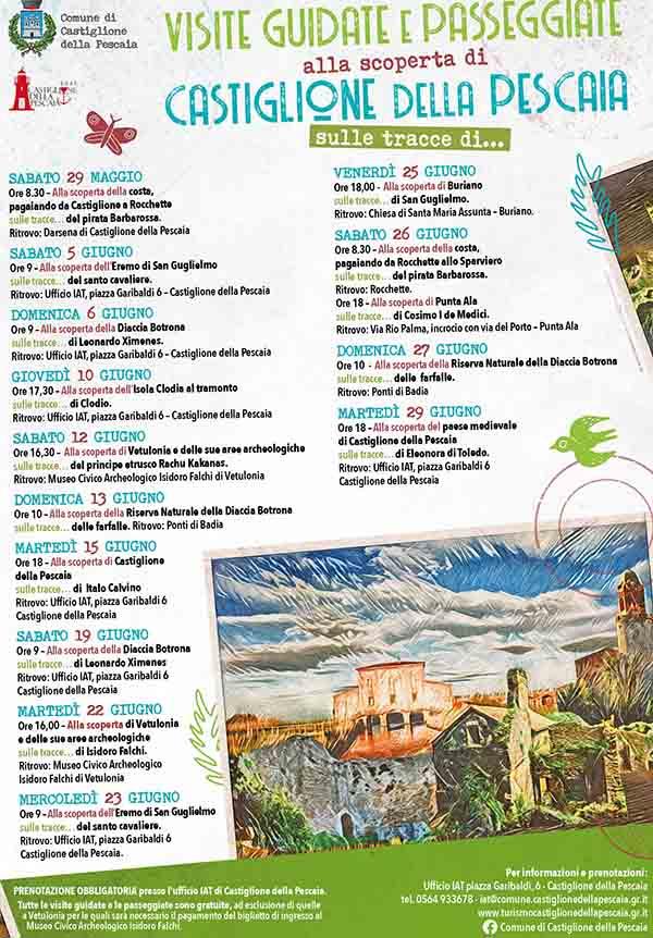 Locandina Castiglione della Pescaia Giugno 2021 - Visite e Passeggiate Guidate