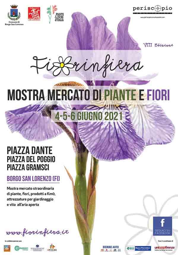 Manifesto Mostra Mercato di fiori e piante Fiorinfiera a Borgo San Lorenzo Giugno 2021