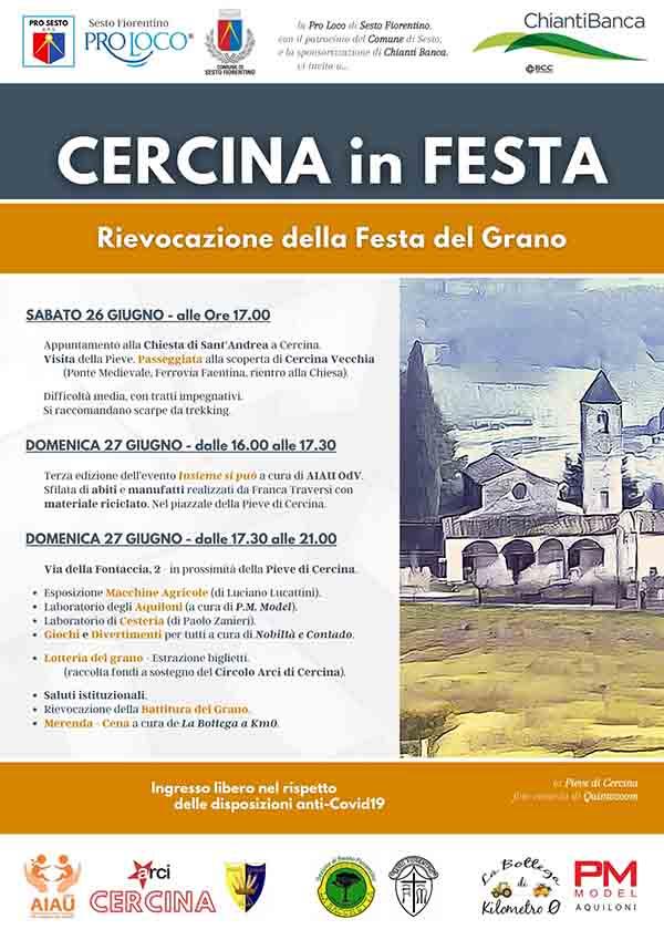 Locandina Cercina in Festa 2021 - Festa del Grano Sesto Fiorentino