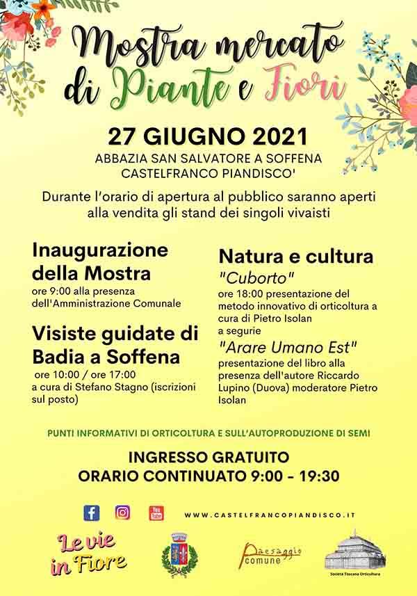 Manifesta Mostra Mercato di Piante e Fiori a Castelfranco Piandiscò Giugno 2021