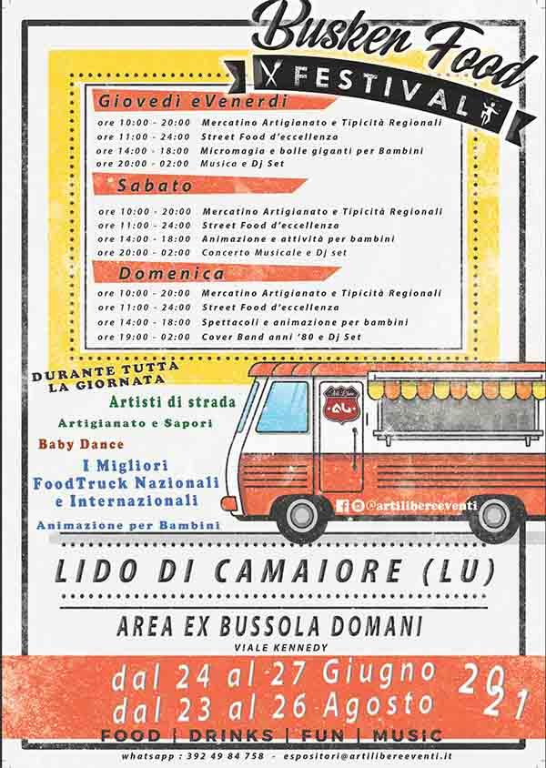 Manifesto Busken Food Festival 2021 a Lido di Camaiore - Giugno e Agosto