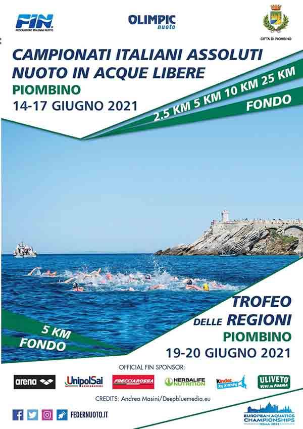 Manifesto Campionati Italiani Nuoto Acque Libere e Trofeo delle Regioni 2021 Piombino