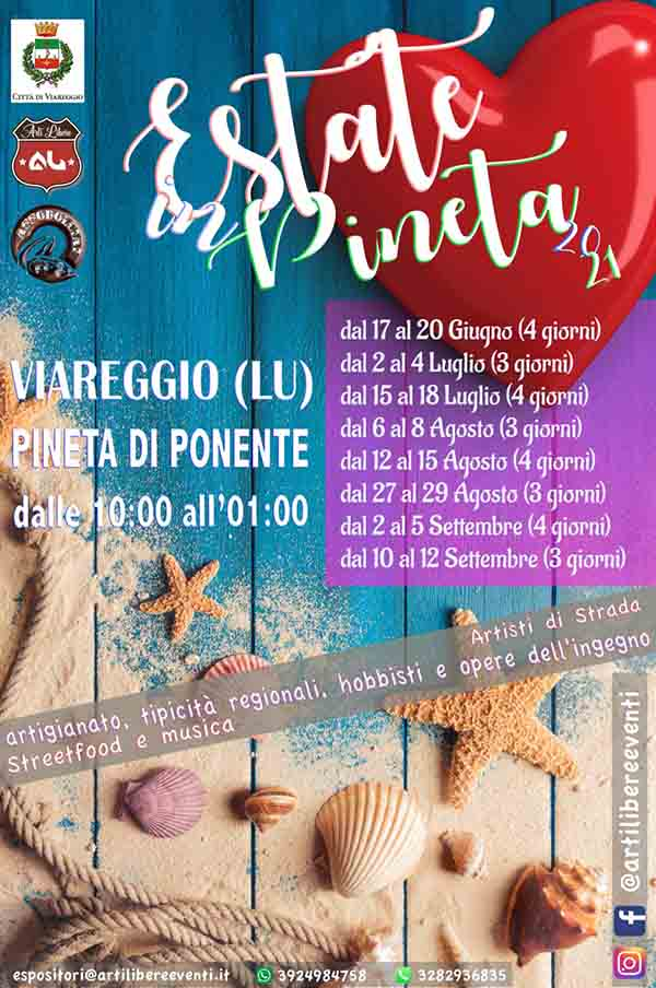 Manifesto Estate in Pineta 2021 a Viareggio - Weekend Giugno Luglio Agosto Settembre