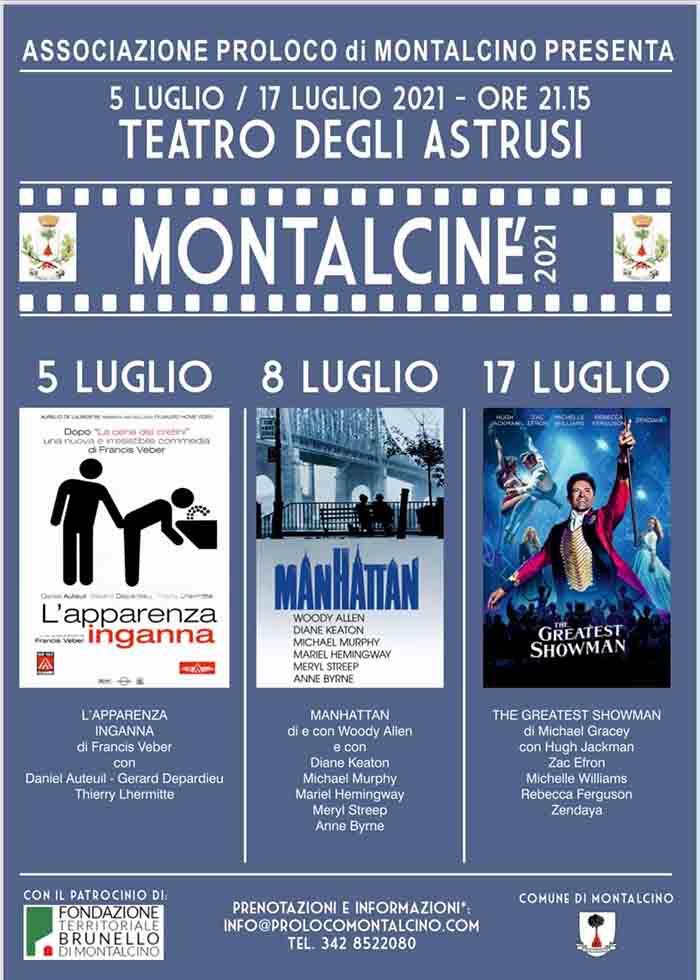 Manifesto Montalcine Luglio 2021 - Cinema Sotto Le Stelle