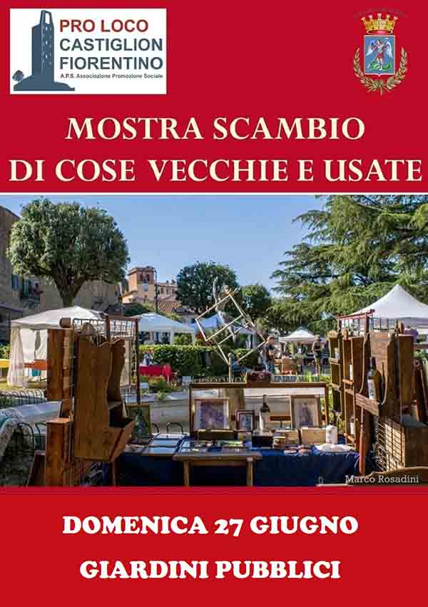 Manifesto Mostra Scambio di cose vecchie e usate a Castiglion Fiorentino - 27 Giugno 2021