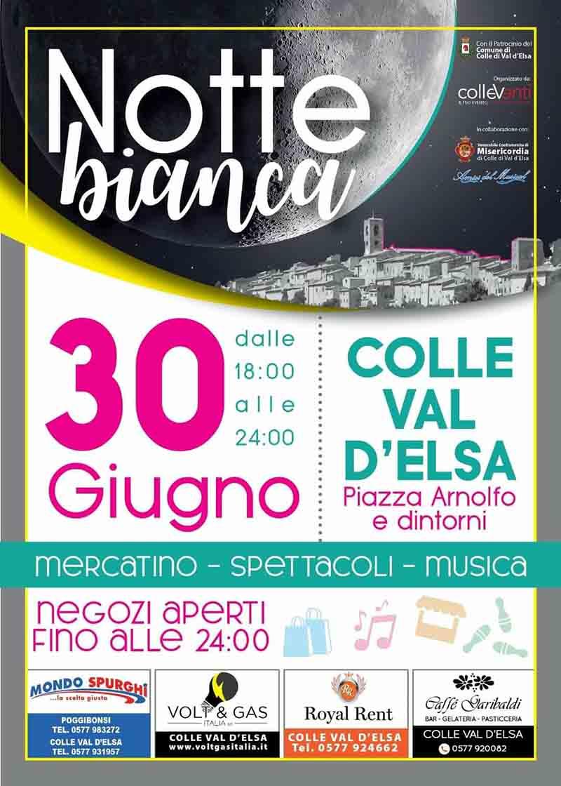 Manifesto Notte Bianca a Colle Val D'Elsa Mercoledì 30 Giugno 2021