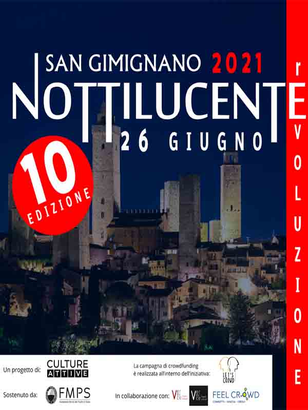 Manifesto Notte Bianca a San Gimignano Sabato 26 Giugno 2021