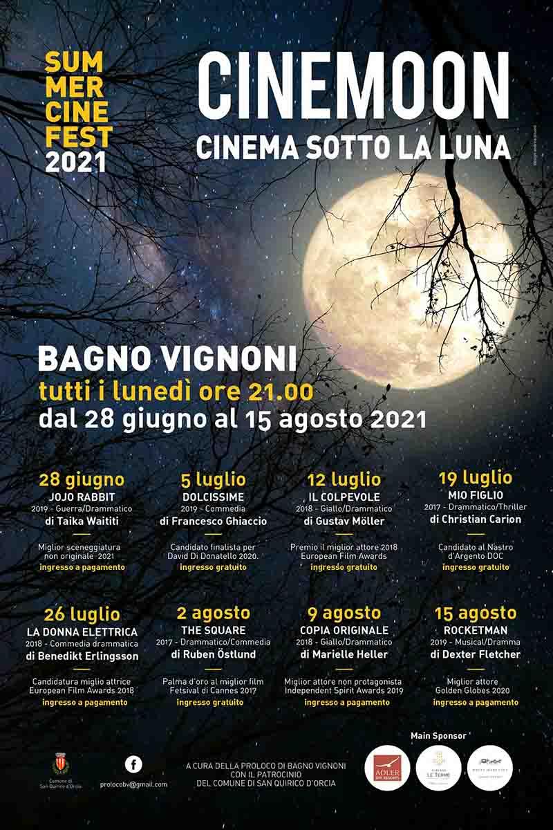 Manifesto Programma Cinema Sotto Le Stelle 2021 Bagno Vignoni - CineMoon