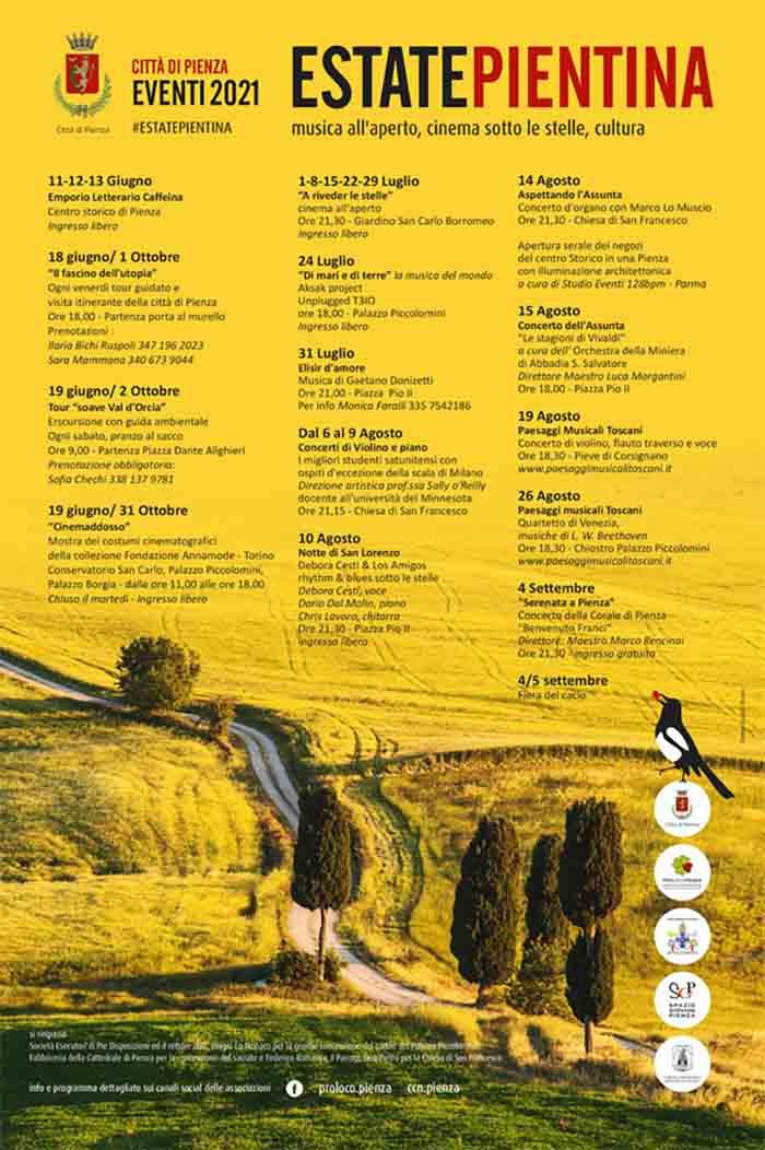 Manifesto Programma Eventi a Pienza Estate 2021