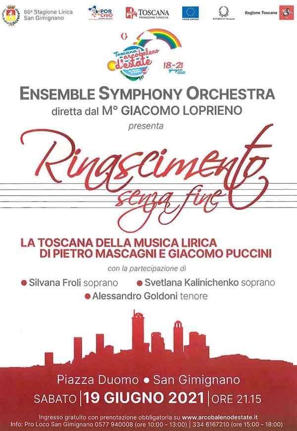 Manifesto Rinascimento senza Fine a San Gimignano - Domenica 19 Giugno 2021