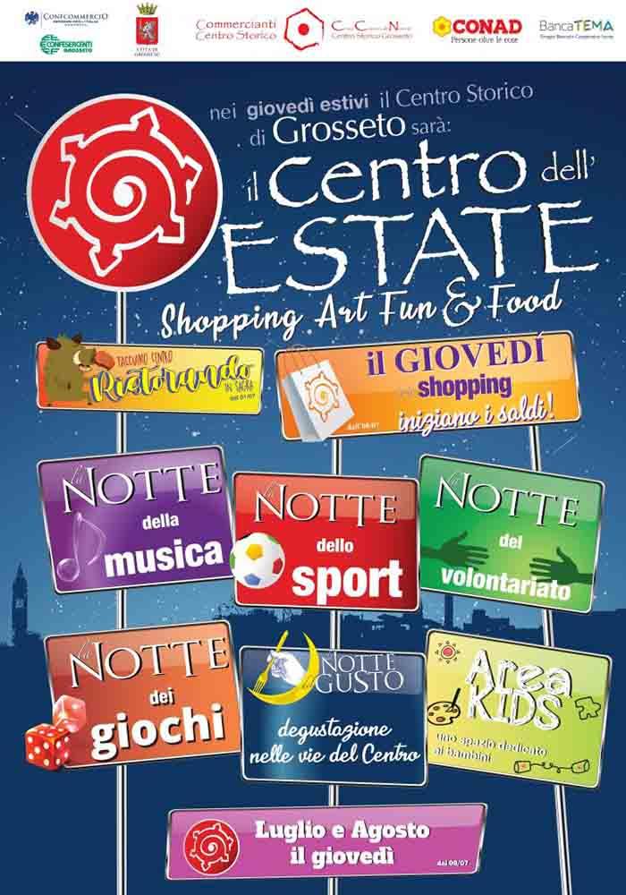 Manifesto shopping art fun&food a Grosseto Luglio-Agosto 2021