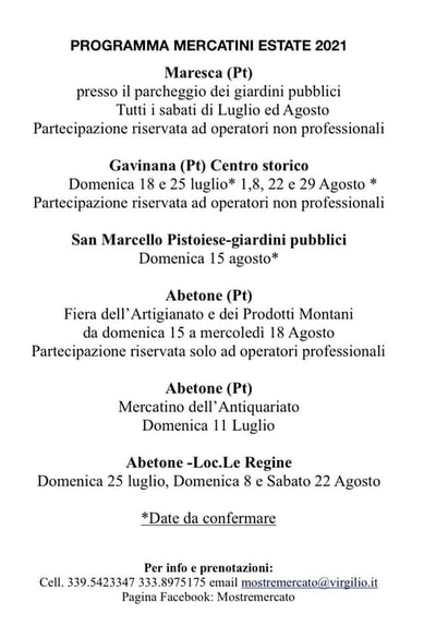 Mercatini Estate 2021 Montagna Pistoiese