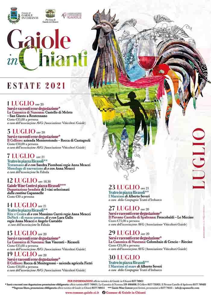 Manifesto Eventi a Gaiole in Chianti Estate 2021 - Luglio 2021