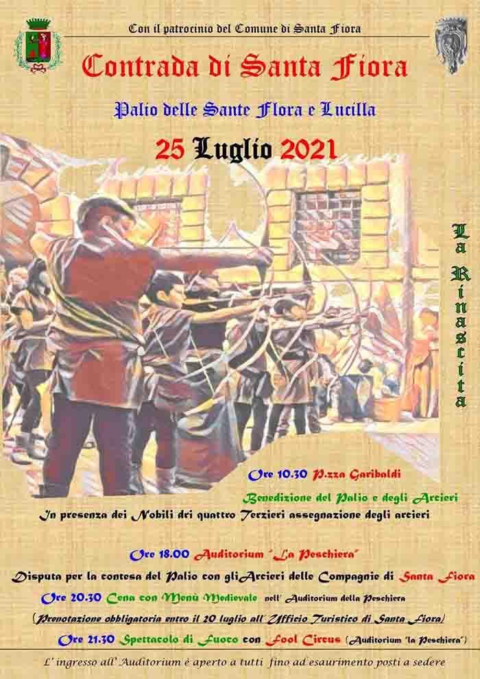 Manifesto Palio delle Sante Flora e Lucilla a Santa Fiora - 25 Luglio 2021