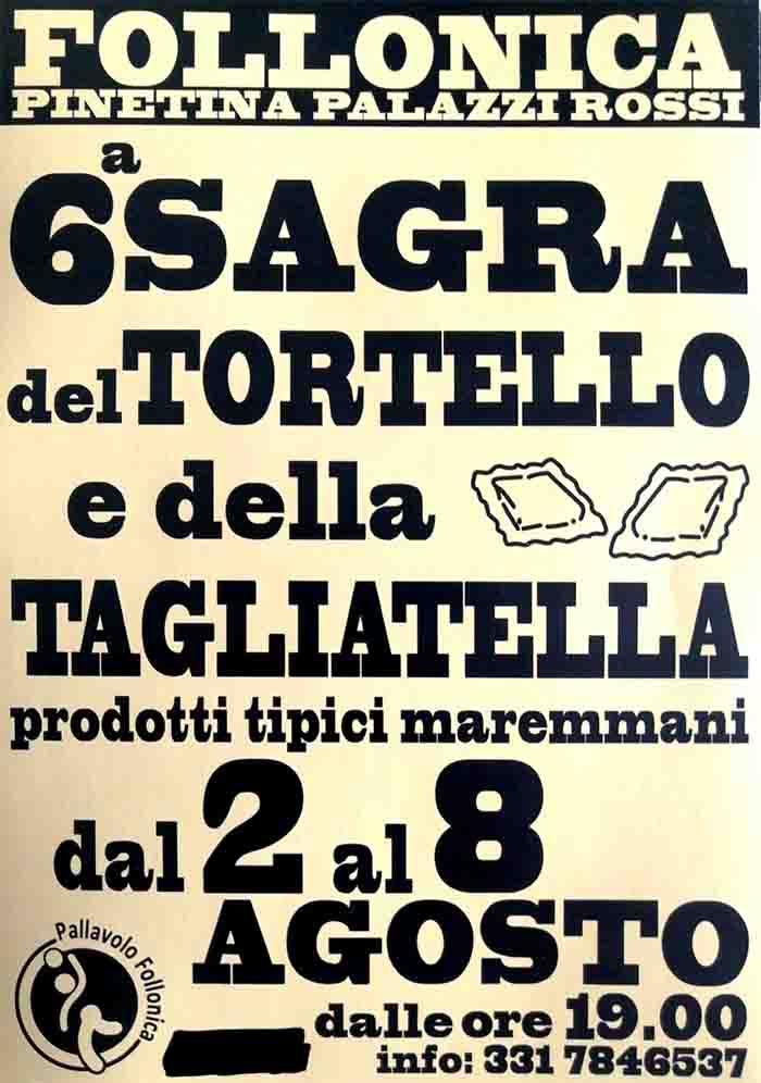 Manifesto Sagra del Tortello e della Tagliatella 2021 a Follonica