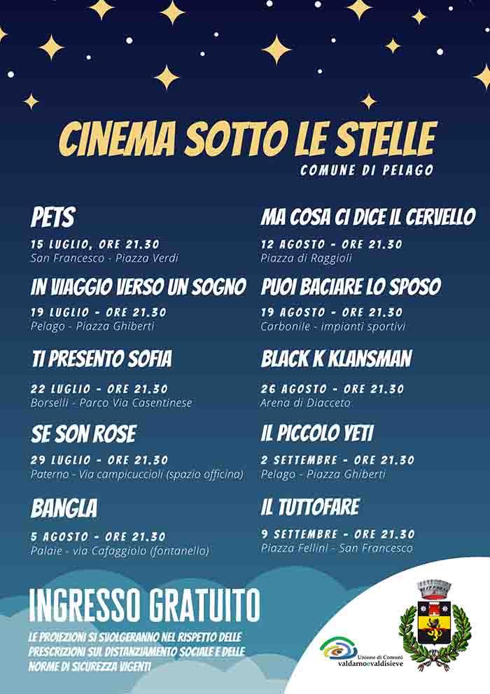 Programma Cinema Sotto Le Stelle a Pelago Estate 2021