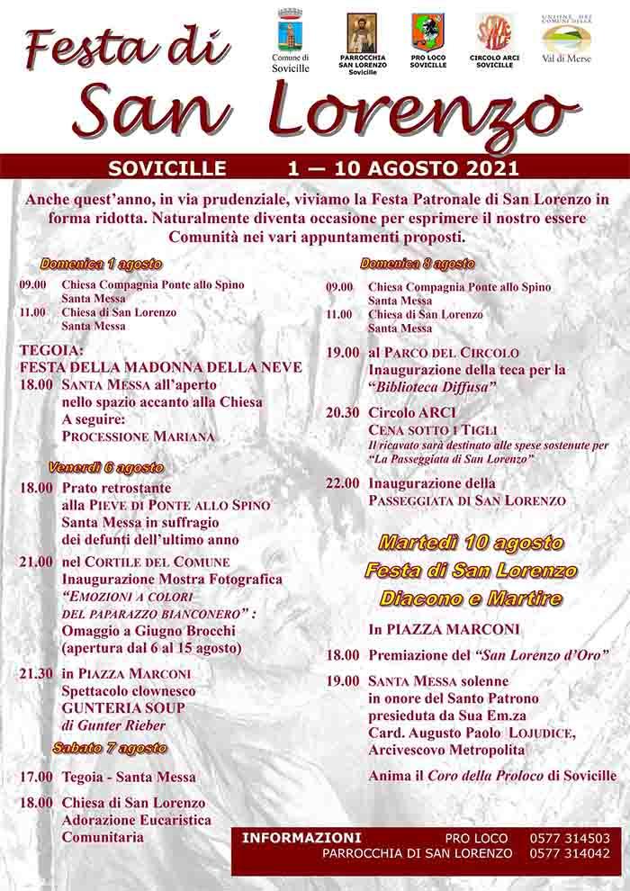 Programma Festa di San Lorenzo 2021 a Sovicille 1-10 Agosto