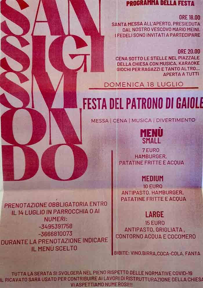 Programma Festa di San Sigismondo a Gaiole in Chianti - 18 Luglio 2021