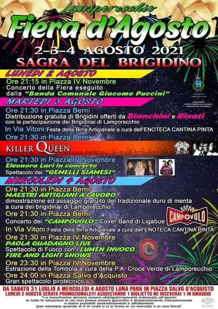 Programma Fiera d'Agosto 2021 a Lamporecchio e Sagra del Brigidino